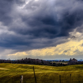 Rolling Hills by Herb Drummond - Landscapes Prairies, Meadows & Fields ( clouds, farm, hills, hdr, cloudscape, dark clouds )