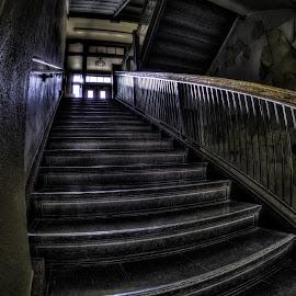 Spooky Stairs by Dave Zuhr - Buildings & Architecture Other Interior ( creepy, dzuhr.com, stairs, spooky, d_zuhr, dzuhr, shadows )