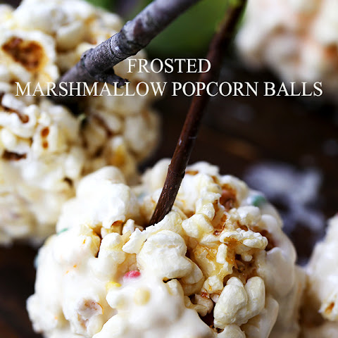 Frosted Marshmallow Popcorn Balls