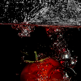Tomato Splash by Rob Crutcher  - Food & Drink Fruits & Vegetables ( tomato, food, splash water photography, water splash )