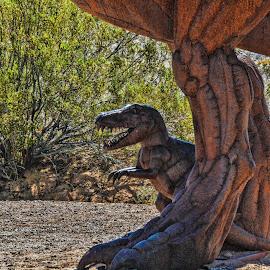 Mini Me by Tom Anderson - Buildings & Architecture Statues & Monuments ( sculpture, dinosaur, gila bend, arizona, t-rex )