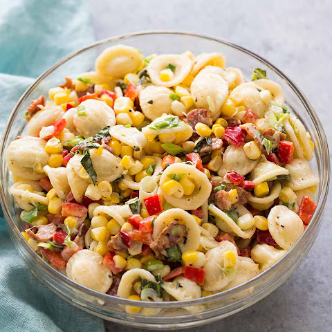 Pasta Salad with Corn, Bacon, and Buttermilk Ranch Dressing