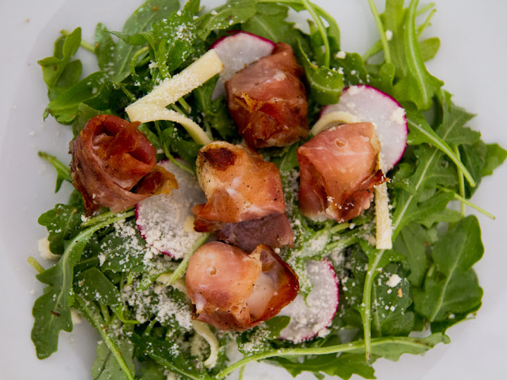 scallops melon wrapped in prosciutto prosciutto wrapped greens bacon ...