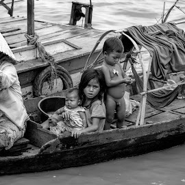 street vendors by Vibeke Friis - Black & White Street & Candid ( seim reap, bananas, children, cambodia,  )