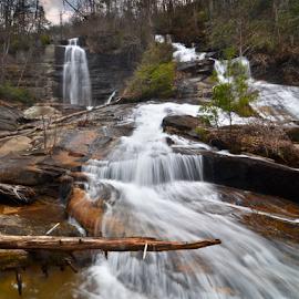 Twin Falls by Mark Turnau - Landscapes Waterscapes ( water, waterscape, waterfall, landscape, rocks )