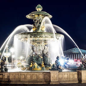 Parisian Fountain by Gary Beresford - City,  Street & Park  Fountains ( paris, night photography, fountain, concord, france, slow shutter )