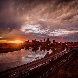 last peek by Anthony Martinez - City,  Street & Park  Skylines ( skyline, sunset, mississippi river, saint paul )