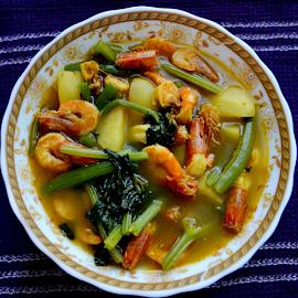 Lau diya Chingri  by Som Nath - Food & Drink Plated Food