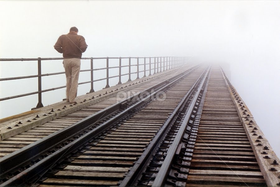 Into The Unknown by Tom Vogt - Transportation Trains ( bridge,  )