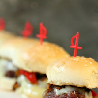 Planked Beef Sliders with Provolone, Roasted Red Peppers and Caramelized Onions