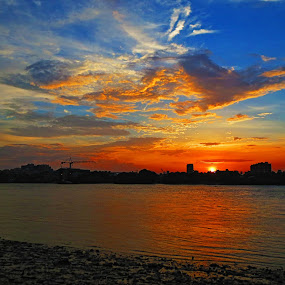 sunset at ahiritola by Jayanti Chowdhury - Landscapes Sunsets & Sunrises ( canon, ahiritola, sunset, kolkata, river ganga )