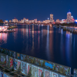 Boston from the BU Bridge by Paul Gibson - Buildings & Architecture Other Exteriors ( water, skyline, boston, graffiti, reflections, night, glowing )