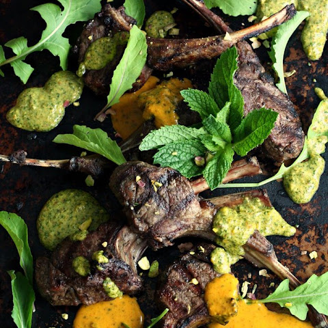 Grilled Lamb Chops with Chermoula Mint Pesto