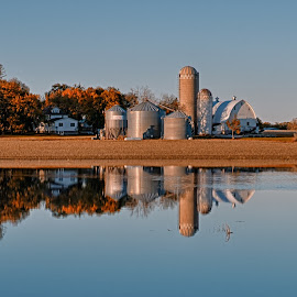 After The Flood by Dale Minter - Landscapes Waterscapes ( farm, water, field, reflection, blue sky, flood, fall, farmland, golden hour )
