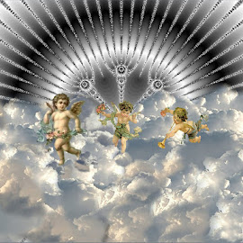 Heavenly Playtime by Nancy Bowen - Illustration People ( clouds, cherubs, silver, black )