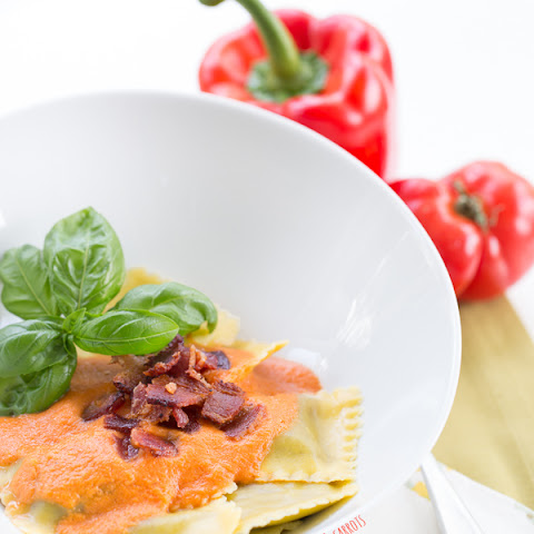 Roasted Red Pepper Ravioli {with Bacon}