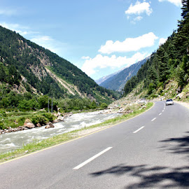 Road to Naran, Pakistan by Waqas Kamran - Transportation Roads ( clouds, reflection, mountains, road, river )