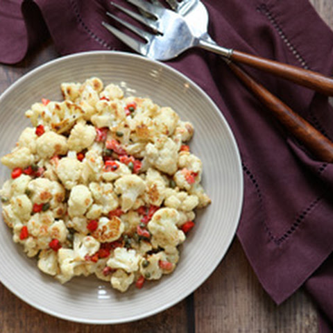 Roasted Cauliflower with Tahini, Capers & Peppers