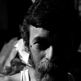 THE FACE by Sattwick Sarkar - People Portraits of Men ( face, black and white, dark, night, low light, smile, people )