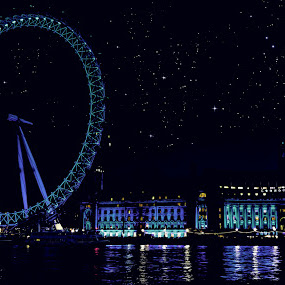 Twilight by Becky Wheller - Buildings & Architecture Bridges & Suspended Structures ( wheel, london, night, the london eye, city )