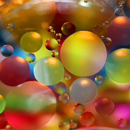 Colorful Gathering by Janet Herman - Abstract Macro ( abstract, oil and water, macro, colors, ellipses, ol drops, floating, orbs, oil )