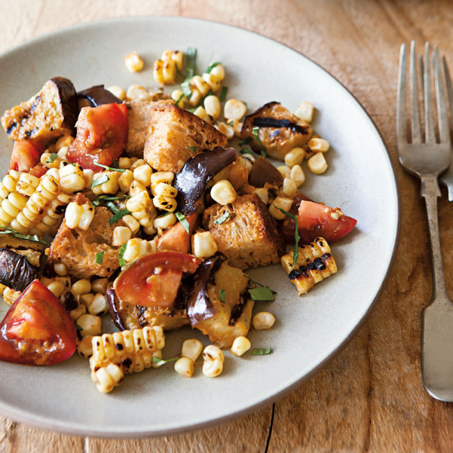 Grilled Eggplant, Corn and Bread Salad with Tomato-Basil Vinaigrette ...