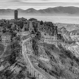Tuscan Village by Angela Higgins - Black & White Landscapes