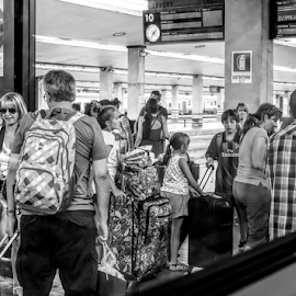 Always the luggage by Vibeke Friis - City,  Street & Park  Street Scenes ( station, hustle, station from train, italy, people,  )