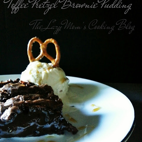Toffee Pretzel Brownie Pudding