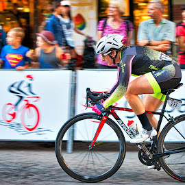Focused On The Rider In Front by Garry Dosa - Sports & Fitness Cycling ( cyclists, outdoors, race, road race, action, cycling, people, speed, women )