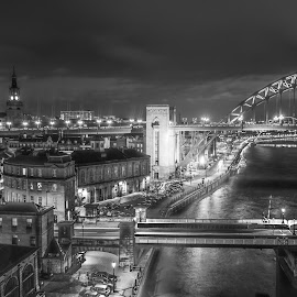 Newcastles Quayside by Adam Lang - Black & White Buildings & Architecture ( slow exposure, quayside, night, tyne bridge, newcastle )
