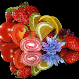 fruits,vegetables with flowers by LADOCKi Elvira - Food & Drink Fruits & Vegetables ( candys, fruits, vegetables )