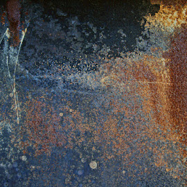 In The Beginning by Mary Gerakaris - Abstract Patterns ( artistic photography, abstract art, rusted metal, abstract photography )