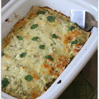 Recipe for Shredded Beef Enchiladas with Green Tomatillo Enchilada Sauce
