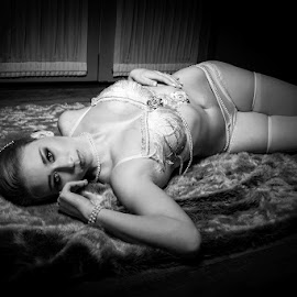 by Mel Stratton - Nudes & Boudoir Boudoir ( girl, black and white, female, boudoir, woman, white, burlesque, black,  )