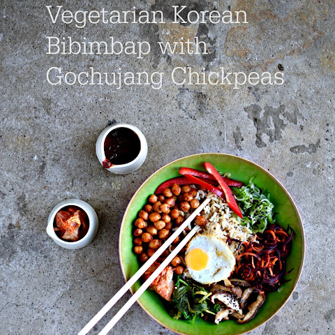 Korean Rice Bowl with Gochujang Chickpeas Recipe (Bibimbap)