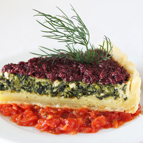 Spinach & Feta Quiche with Kalamata Olive Tapenade