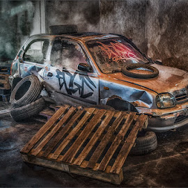 Street Car by Steve Dormer - City,  Street & Park  Neighborhoods ( car, streetphotography, hdr, wreck, street, neighborhood )