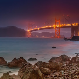 GOLDEN GATE BRIDGE from MARSHALL BEACH by Julio Gonzalez - Buildings & Architecture Bridges & Suspended Structures ( night photo, golden gate bridge, 5d mark2, san francisco, marshall beach )