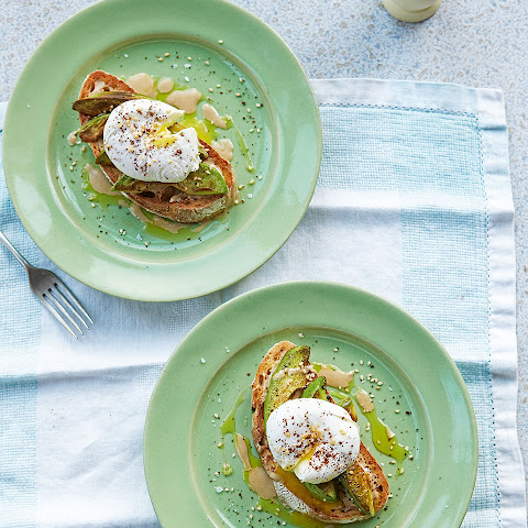 Poached Eggs, Tahini And Pan-fried Avocado