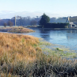 Down at the pond by Stephen Crawford - Digital Art Places ( mill, fishery, oil paint filter, loch, pond, panorama, annbank,  )