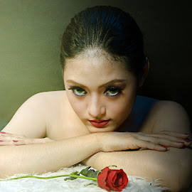 Girl and Red Rose by Cahyo Photoart - People Fashion ( photooftheday, picoftheday, beautiful, pretty, bestoftheday, beauty, asian, girl, cute, photography, picture )