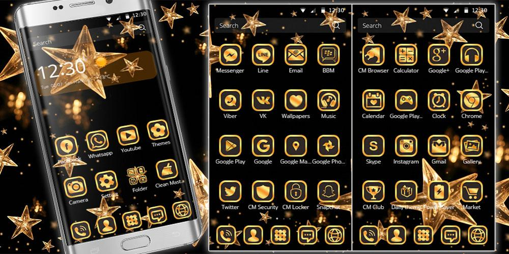Thema schwarzes Gold - Goldener Stern android apps download