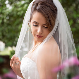 Waiting by Carole Brown - Wedding Bride ( pink flowers, gorgeous, pearls, brunette hair, veil )