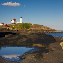 Nubble Light house Cloud by Olga Charny - Landscapes Underwater ( nubble, maine, lighthouse )