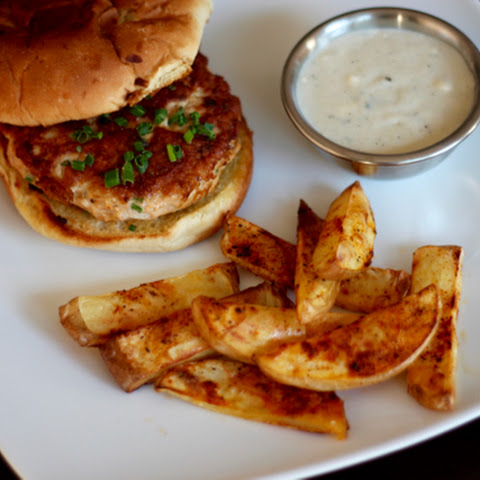 Spicy Turkey Burgers with Blue Cheese Gravy and Fries