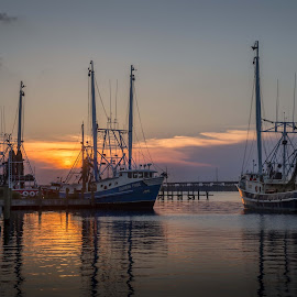 Evening At The Docks by Ron Maxie - Transportation Boats