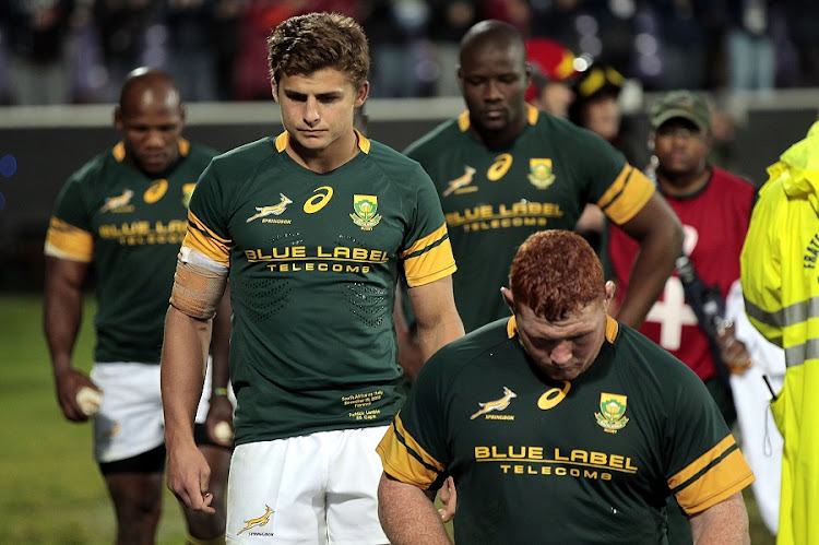 Pat Lambie of South Africa shows his dejection during the 2016 Castle Lager Outgoing Tour match between against Italy at Stadio Olimpico on November 19, 2016 in Rome, Italy. Picture: GABRIELE MALTINTI/GALLO IMAGES