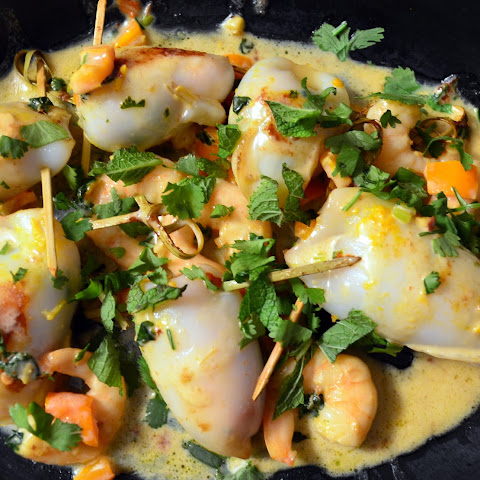 Squid stuffed with Chilli, Ginger and Lemongrass Prawns, Coconut Herb sauce