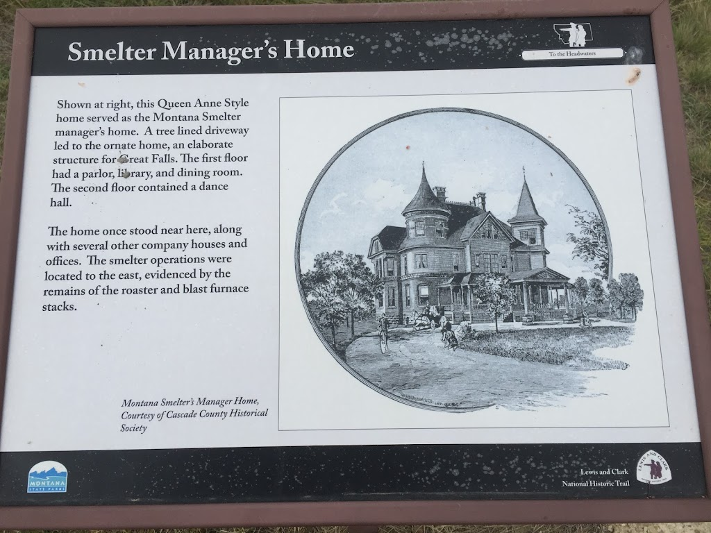 Shown at right, this Queen Anne Style home served as the Montana Smelter manager's home. A tree lined driveway led to the ornate home, an elaborate structure for Great Falls. The first floor had a ...